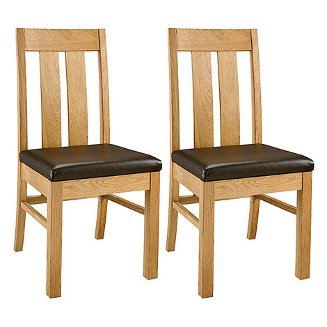 Debenhams - Pair of oak +Lyon+ slatted back dining chairs