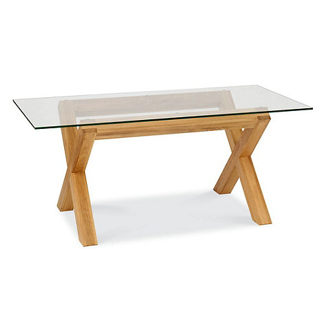 Debenhams - Oak and glass +Lyon+ fixed-top table