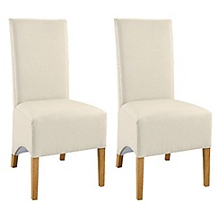 Debenhams - Pair of oak and ivory 'Lyon' dining chairs