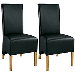 Debenhams - Pair of oak and black 'Lyon' dining chairs