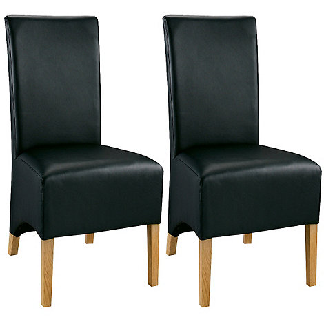 Debenhams - Pair of oak +Lyon+ black upholstered chairs