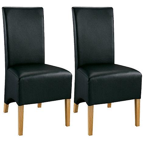 Debenhams - Pair of oak and black +Lyon+ dining chairs