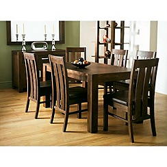 Debenhams - Pair of walnut 'Lyon' slatted back dining chairs