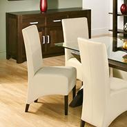 Pair of 'Lyon' ivory faux leather chairs