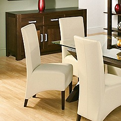 Debenhams - Pair of walnut and ivory 'Lyon' dining chairs