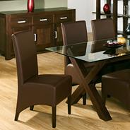 Pair of 'Lyon' brown faux leather chairs