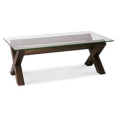 Debenhams - Walnut and glass 'Lyon' coffee table