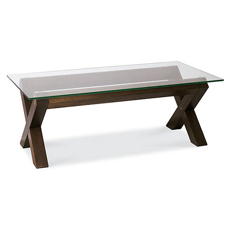 Debenhams - Walnut and glass +Lyon+ coffee table