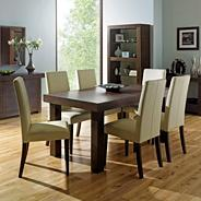Walnut 'Akita' medium extending table & four taper back ivory upholstered chairs