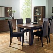 Walnut 'Akita' medium extending table & four taper back brown upholstered chairs
