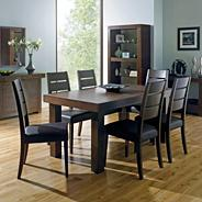 Walnut 'Akita' medium extending table & six slatted chairs