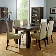 Walnut 'Akita' large extending table & six taper back ivory upholstered chairs