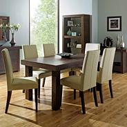 Walnut 'Akita' large extending table & eight taper back ivory upholstered chairs