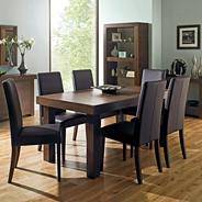 Walnut 'Akita' large extending table & six taper back brown upholstered chairs