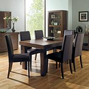 Walnut 'Akita' large extending table & eight taper back brown upholstered chairs