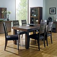 Walnut 'Akita' large extending table & six slatted chairs