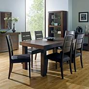 Walnut 'Akita' large extending table & eight slatted chairs