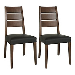 Debenhams - Pair of walnut 'Akita' ladder back dining chairs
