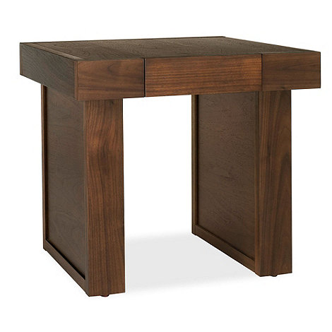 Debenhams - Walnut +Akita+ side table with single drawer