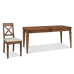 Debenhams - Oak finished 'Sophia' large extending table and cross-back chairs