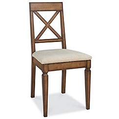 Debenhams - Pair of oak finished 'Sophia' cross-back dining chairs