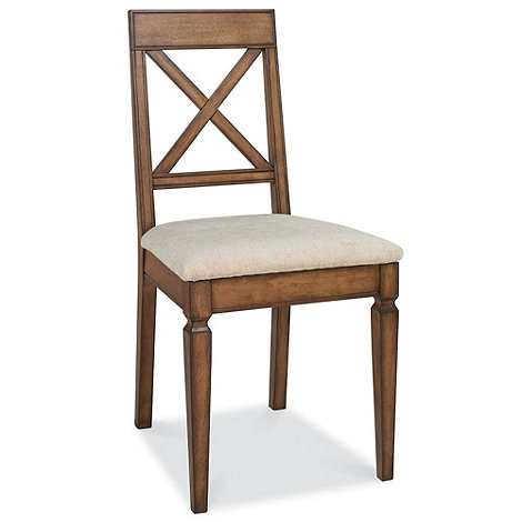 Debenhams - Pair of oak finished +Sophia+ cross-back dining chairs