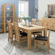 Washed oak 'Lyon' six seater table and six slatted chairs