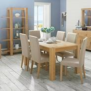 Washed oak 'Lyon' six seater table and six grey upholstered chairs
