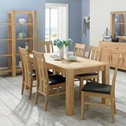 Washed oak 'Lyon' extending table and six slatted chairs
