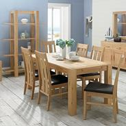 Washed oak 'Lyon' extending table and eight slatted chairs
