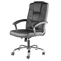 Alphason - Black leather finished 'Houston' office chair