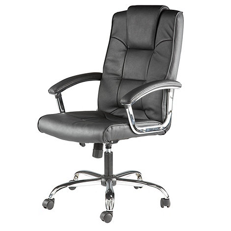 Alphason - Black leather finished +Houston+ office chair