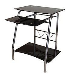 Alphason - Black glass 'Georgia' desk