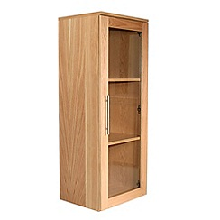 Alphason - Oak 'Oakwood' narrow glazed bookcase