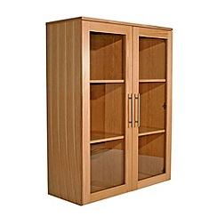 Alphason - Oak 'Oakwood' wide glazed bookcase