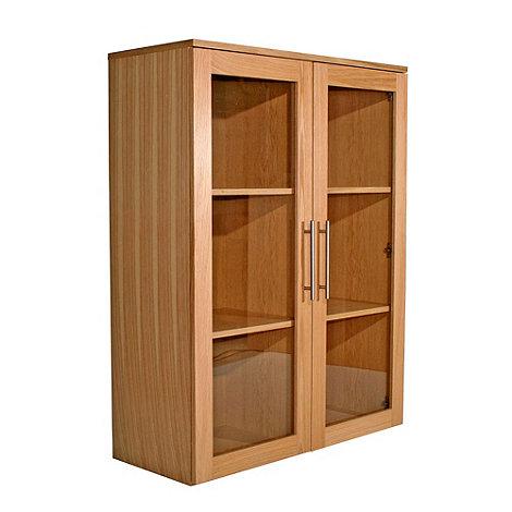 Alphason - Oak +Oakwood+ wide glazed bookcase