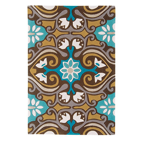 Debenhams - Beige 'Harlequin Scroll' rug