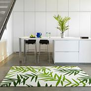 Green 'Eden Palm' printed rug