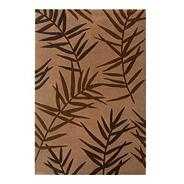 Chocolate 'Eden Palm' printed rug