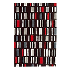 Debenhams - Grey and red wool 'Block' rug