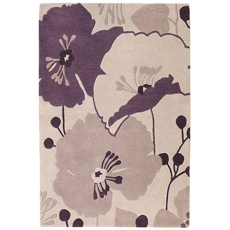 Betty Jackson.Black - Lilac wool 'Poppy' rug
