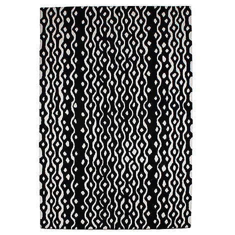 Betty Jackson.Black - Black wool +Geometric+ rug