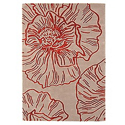 Debenhams - Beige and red wool 'Liberty' rug