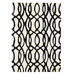 Debenhams - Black and white wool 'Wire' rug