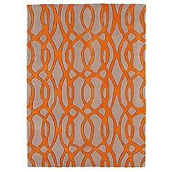 Debenhams - Orange and beige wool 'Wire' rug