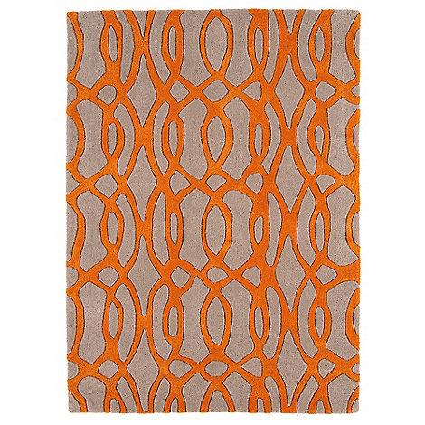 Debenhams - Orange and beige wool +Wire+ rug