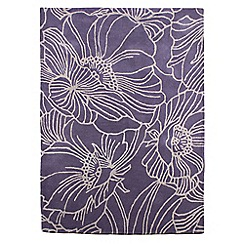 Betty Jackson.Black - Purple wool 'Linear Flowers' rug