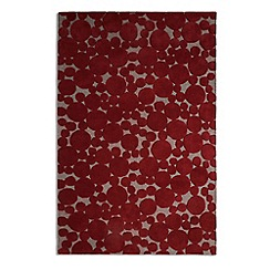 Debenhams - Crimson wool 'Bubbles' rug