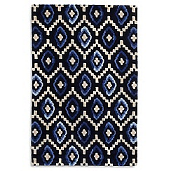 Debenhams - Blue wool 'Origins' rug