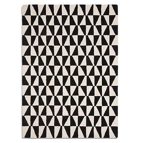 Plantation Rugs - Black and white wool +Geometric+ rug